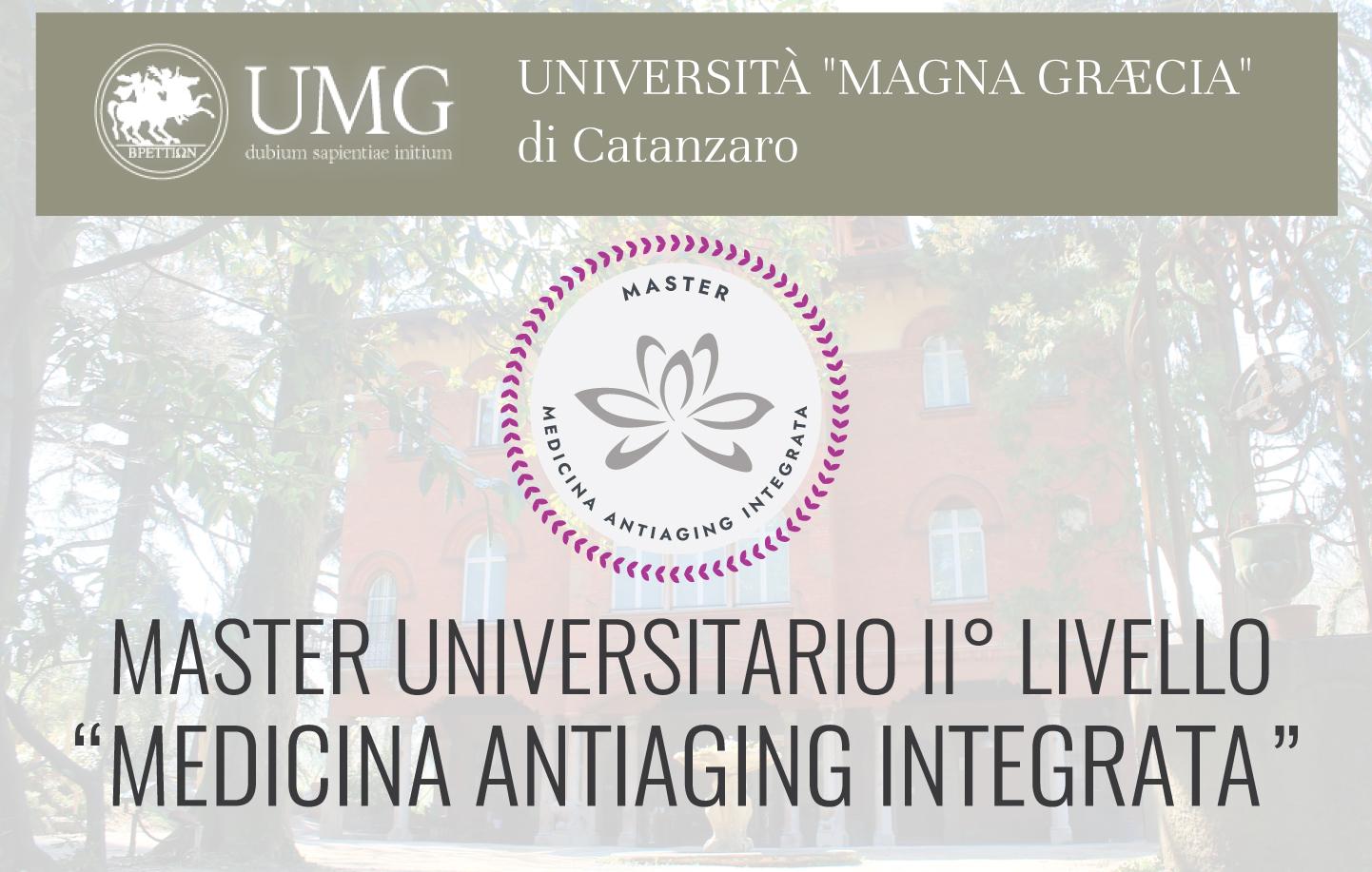 """Disponibili gli ultimi posti per il primo MASTER UNIVERSITARIO DI II LIVELLO IN """"MEDICINA ANTIAGING INTEGRATA"""""""